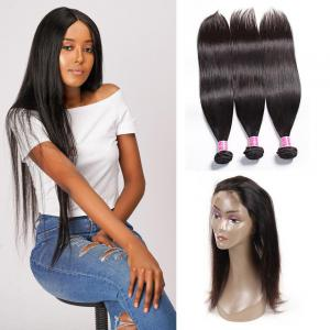 360 Lace Frontal Indian Hair Closure with 3 Bundles Virgin Human Hair Weaves on Sale