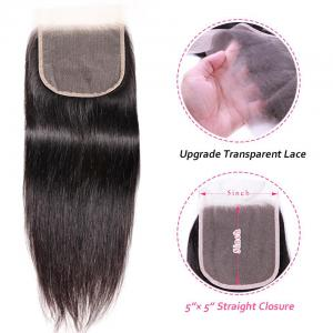 5*5 Transparent Tint Swiss Lace Straight Hair Lace Closure