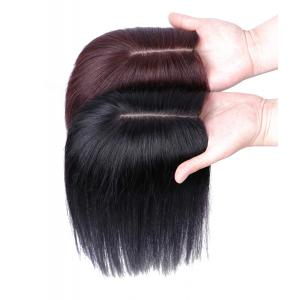 "5"" x 5.5"" Silk Base Human Hair Topper Hair Pieces, Clip in Wiglet Hairpiece for Women with Thinning Hair"