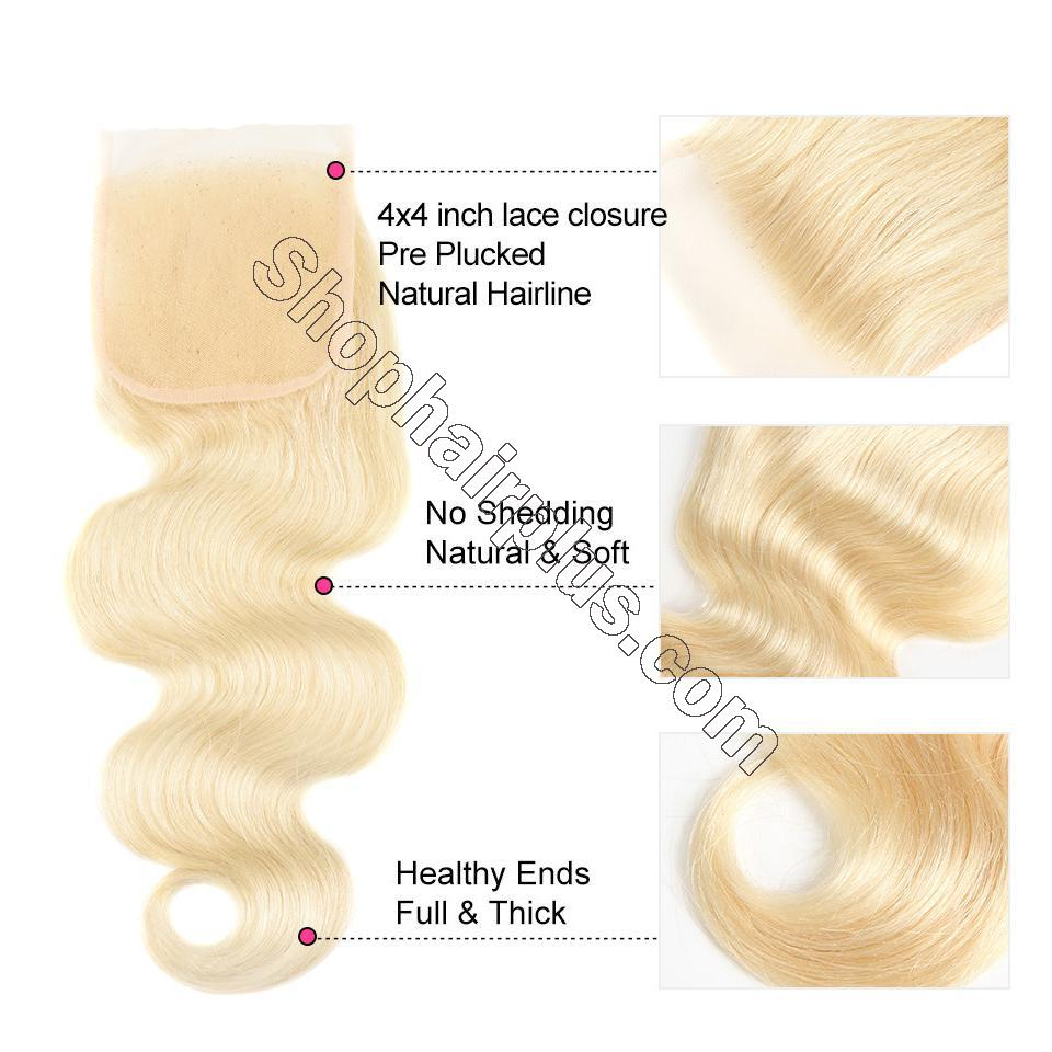 613 Blonde Body Wave Hair 4*4 Free Part Lace Closure, 100% Human Hair On Deals 5