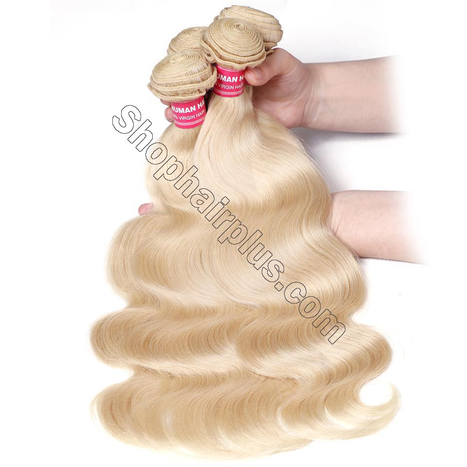 613 Blonde Body Wave Human Hair 3 Bundles with 13*4 Lace Frontal Closure 2