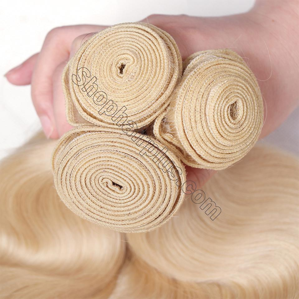 613 Blonde Body Wave Human Hair 3 Bundles with 13*4 Lace Frontal Closure 3