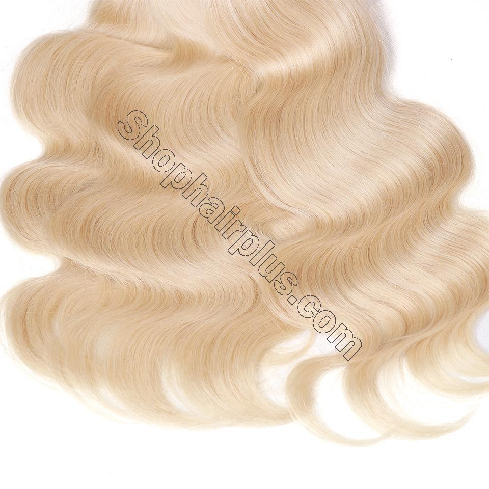 613 Blonde Body Wave Human Hair 3 Bundles with 13*4 Lace Frontal Closure 4