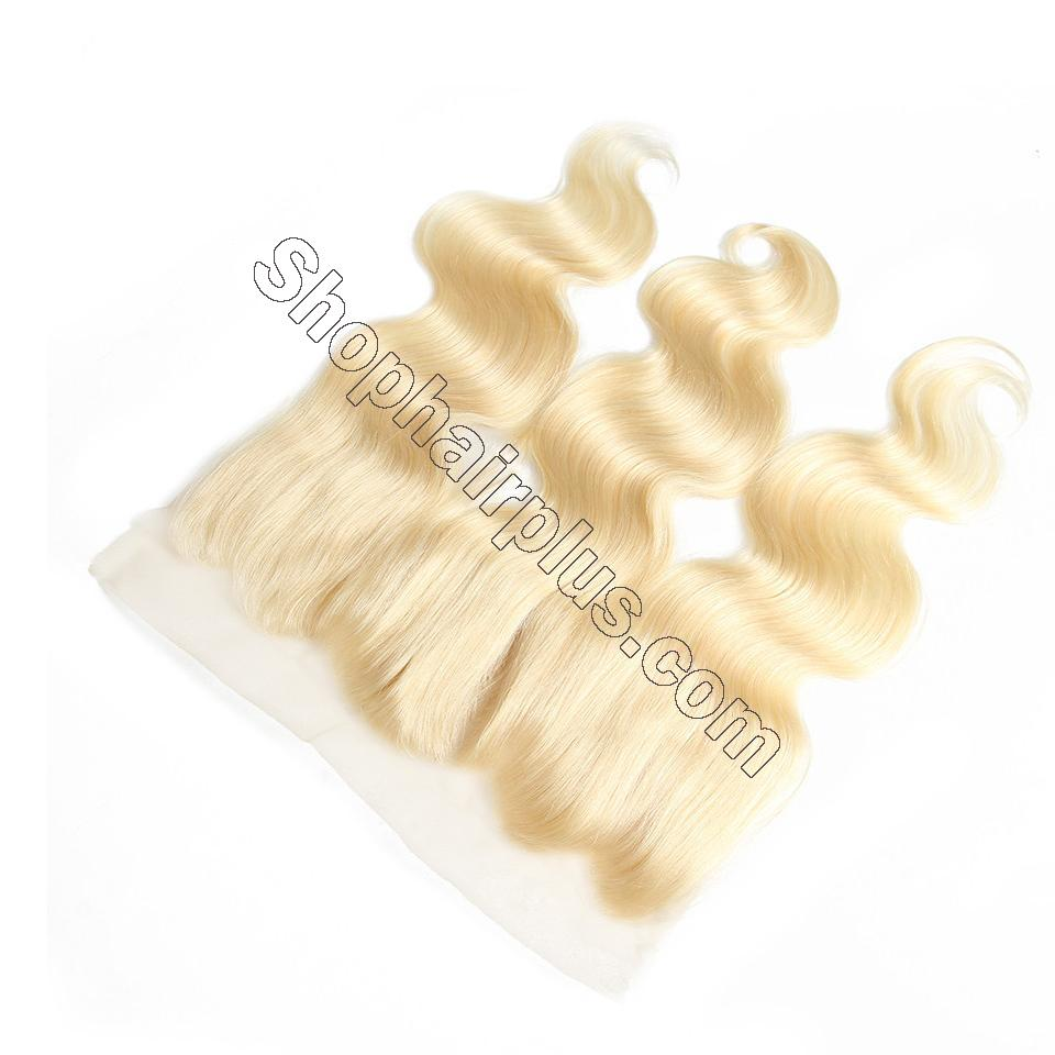 613 Blonde Body Wave Human Hair 3 Bundles with 13*4 Lace Frontal Closure 5