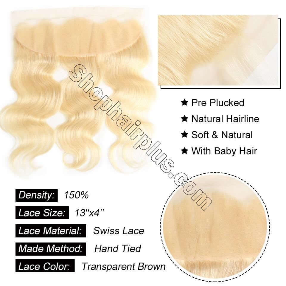 613 Blonde Body Wave Human Hair 3 Bundles with 13*4 Lace Frontal Closure 7