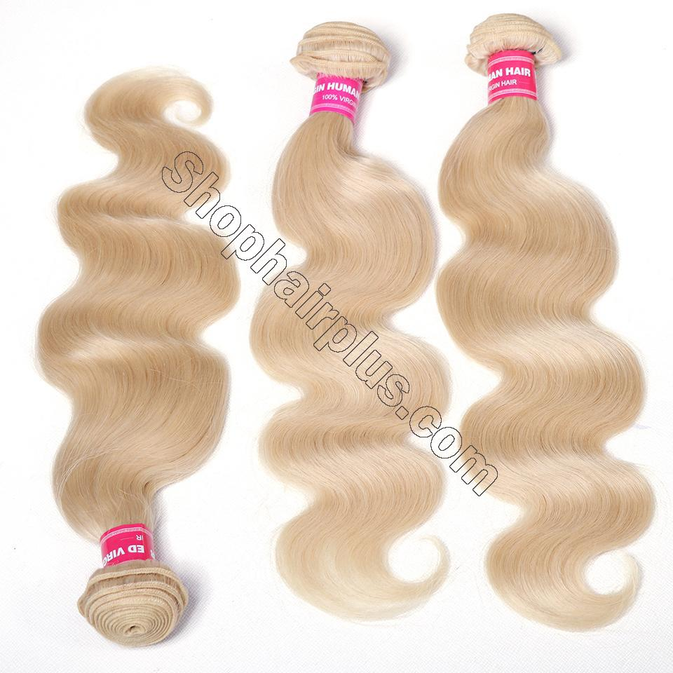 613 Blonde Body Wave Human Hair 3 Bundles with 13*4 Lace Frontal Closure 9
