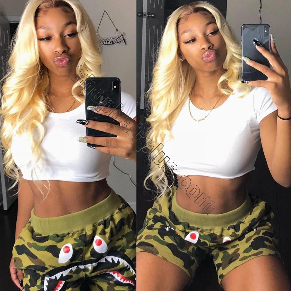 613 Blonde Body Wave Human Hair 3 Bundles with 13*4 Lace Frontal Closure 10