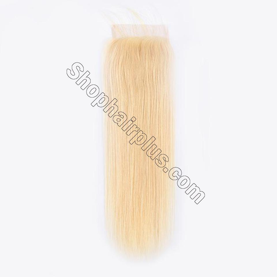 613 Blonde Straight Hair 4*4 Free Part Lace Closure, 100% Human Hair On Deals 5