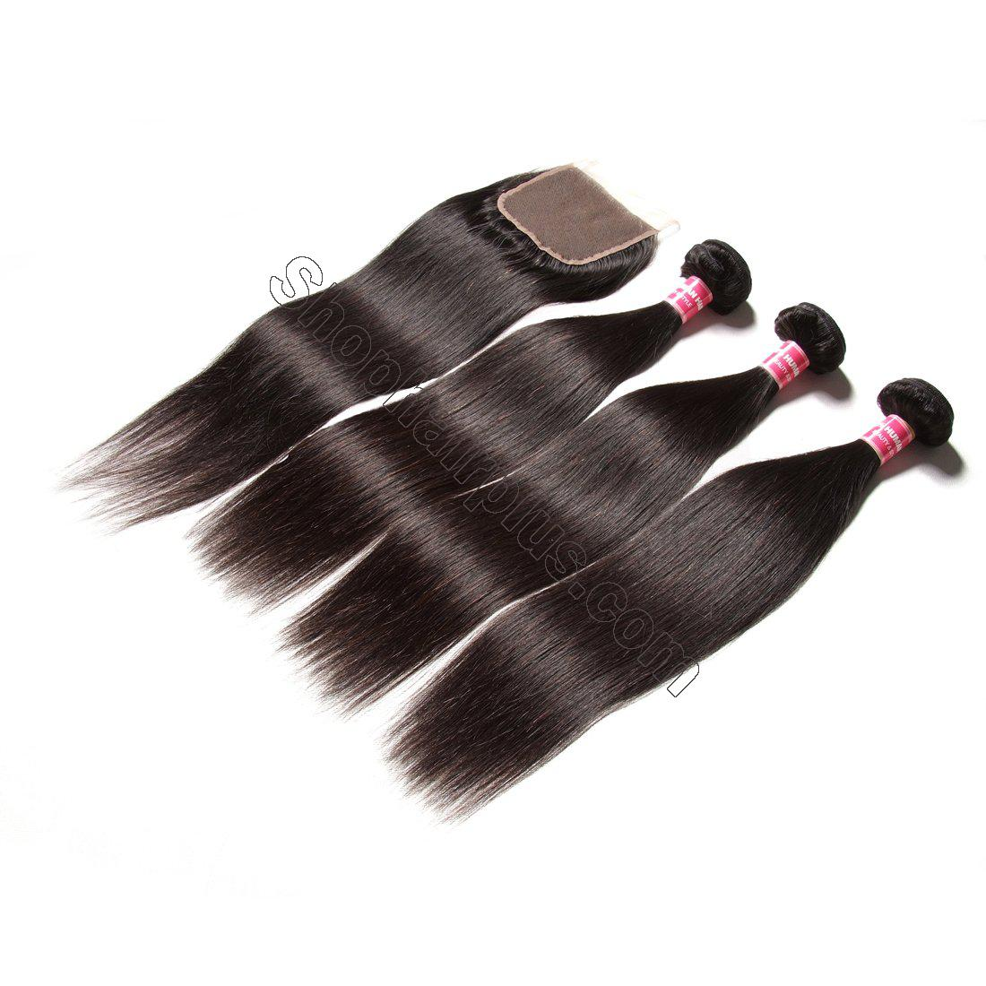 7A Malaysian Straight Virgin Hair 3Bundles with 4x4 Lace Closure 3