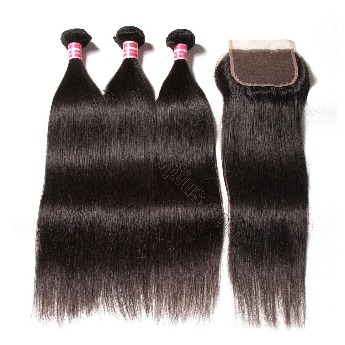 7A Malaysian Straight Virgin Hair 3Bundles with 4x4 Lace Closure 4