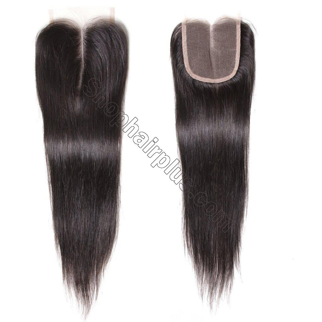 7A Malaysian Straight Virgin Hair 3Bundles with 4x4 Lace Closure 7