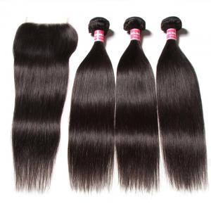 7A Malaysian Straight Virgin Hair 3Bundles with 4x4 Lace Closure
