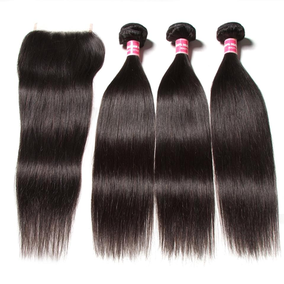 7A Malaysian Straight Virgin Hair 3Bundles with 4x4 Lace Closure 9