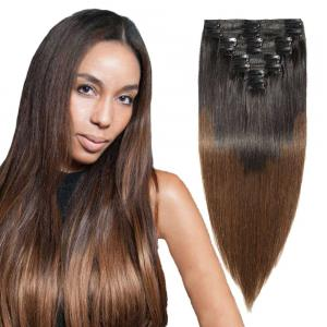 8 Pcs Double Weft Straight Clip In Remy Hair Extensions #1B/4