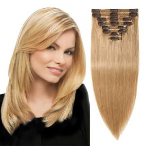 8 Pcs Double Weft Straight Clip In Remy Hair Extensions #27 Dark Blonde