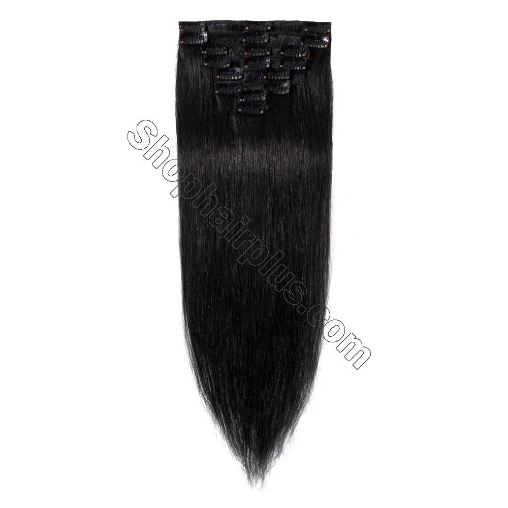 8 Pcs Straight Clip In Remy Hair Extensions #1 Dark Black 2