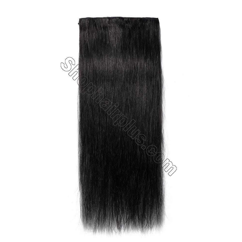 8 Pcs Straight Clip In Remy Hair Extensions #1 Dark Black 3
