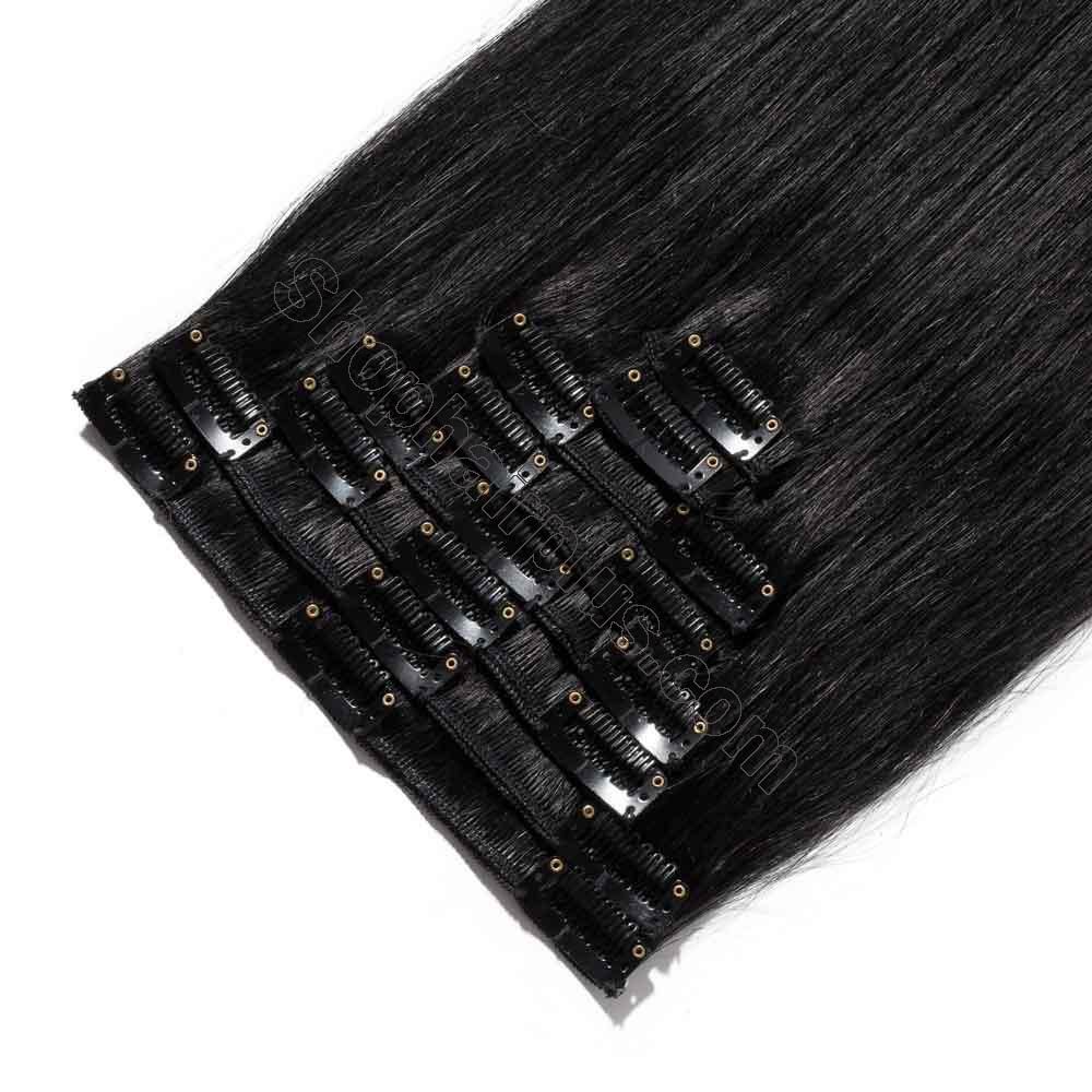 8 Pcs Straight Clip In Remy Hair Extensions #1 Dark Black 4