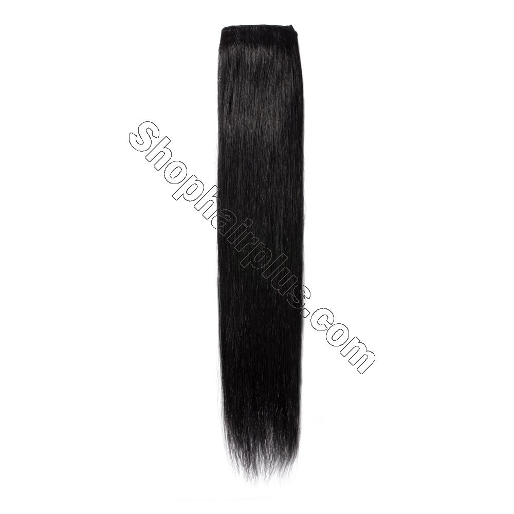 8 Pcs Straight Clip In Remy Hair Extensions #1 Dark Black 6