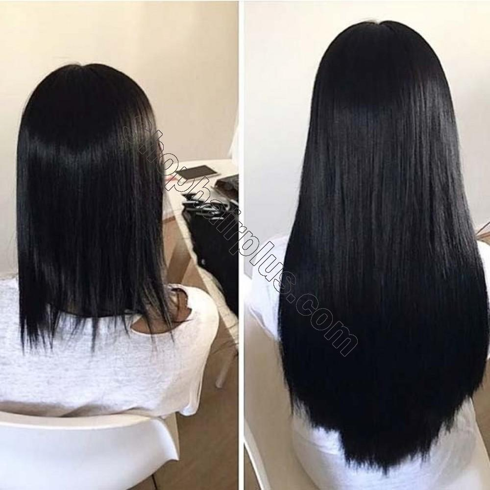 8 Pcs Straight Clip In Remy Hair Extensions #1 Dark Black 7