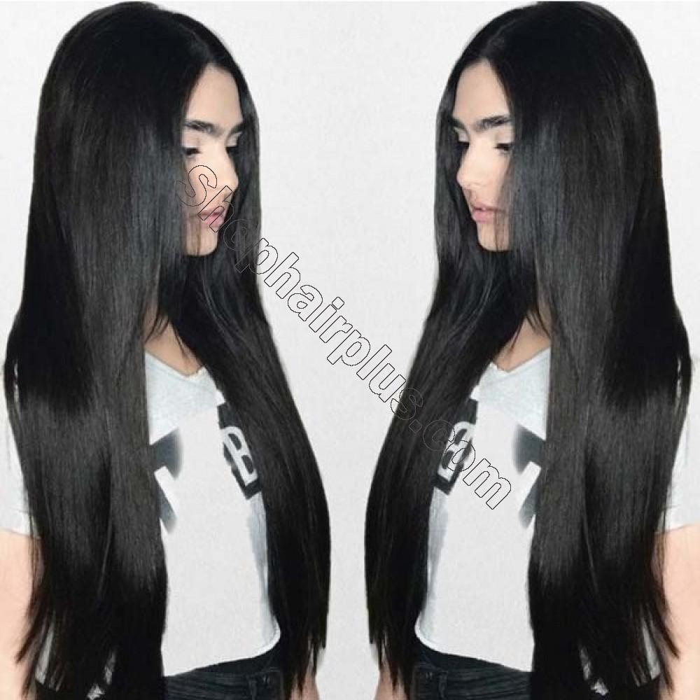 8 Pcs Straight Clip In Remy Hair Extensions #1 Dark Black 9