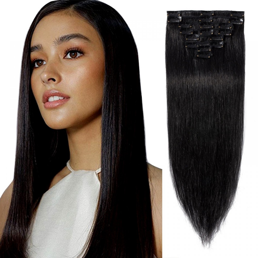 8 Pcs Straight Clip In Remy Hair Extensions #1 Dark Black 11