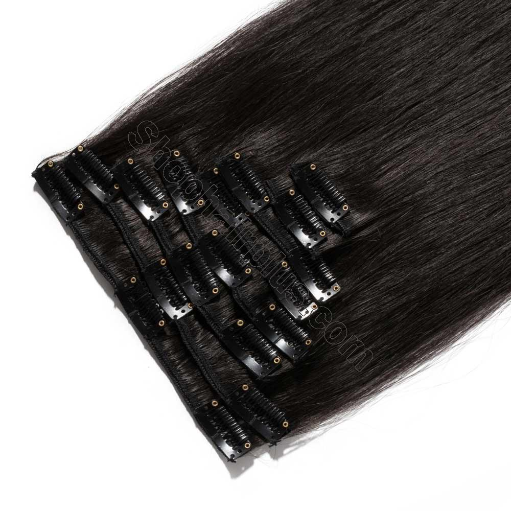 8 Pcs Straight Clip In Remy Hair Extensions #1B Natural Black 3