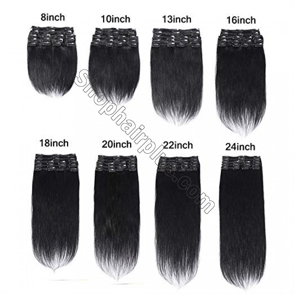 8 Pcs Straight Clip In Remy Hair Extensions #1B Natural Black 6