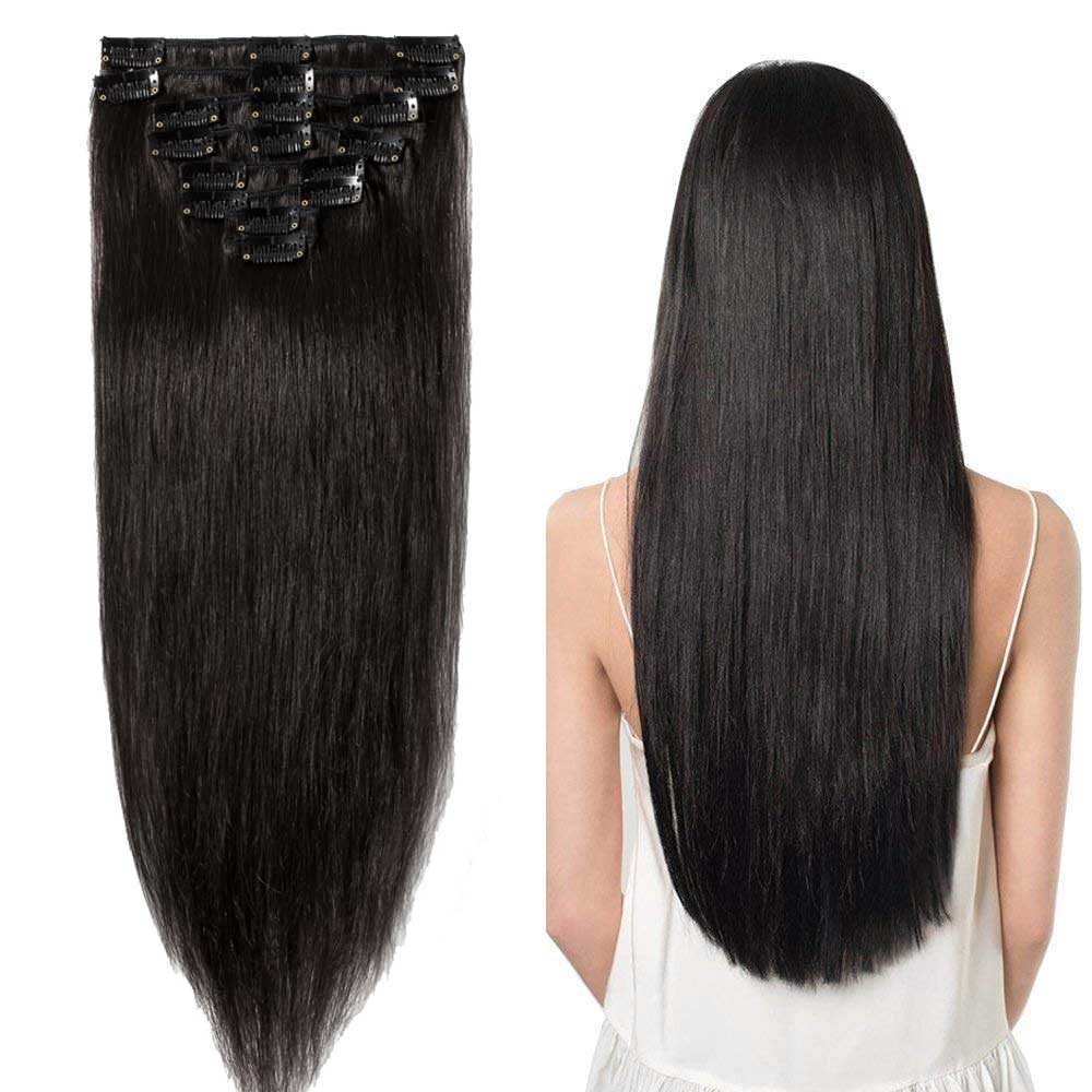 8 Pcs Straight Clip In Remy Hair Extensions #1B Natural Black 8