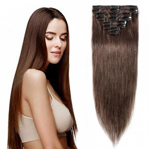 8 Pcs Straight Clip In Remy Hair Extensions #4 Medium Brown
