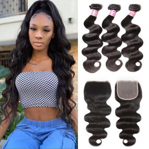8A Body Wave 3 Bundles with 6x6 Closure Pre Plucked Human Hair Lace Closure