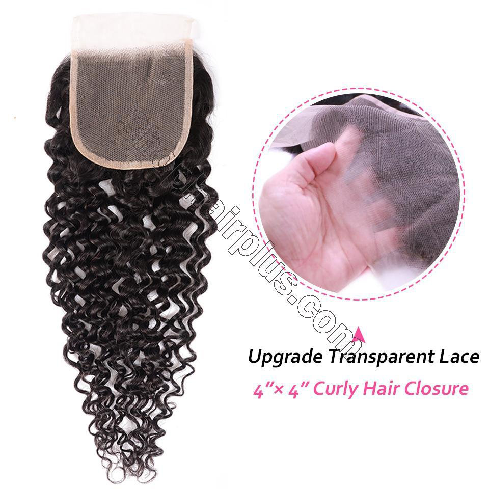 8A Grade Curly Hair Invisible Lace Closure 4x4 Swiss Lace Closure Free Part 2