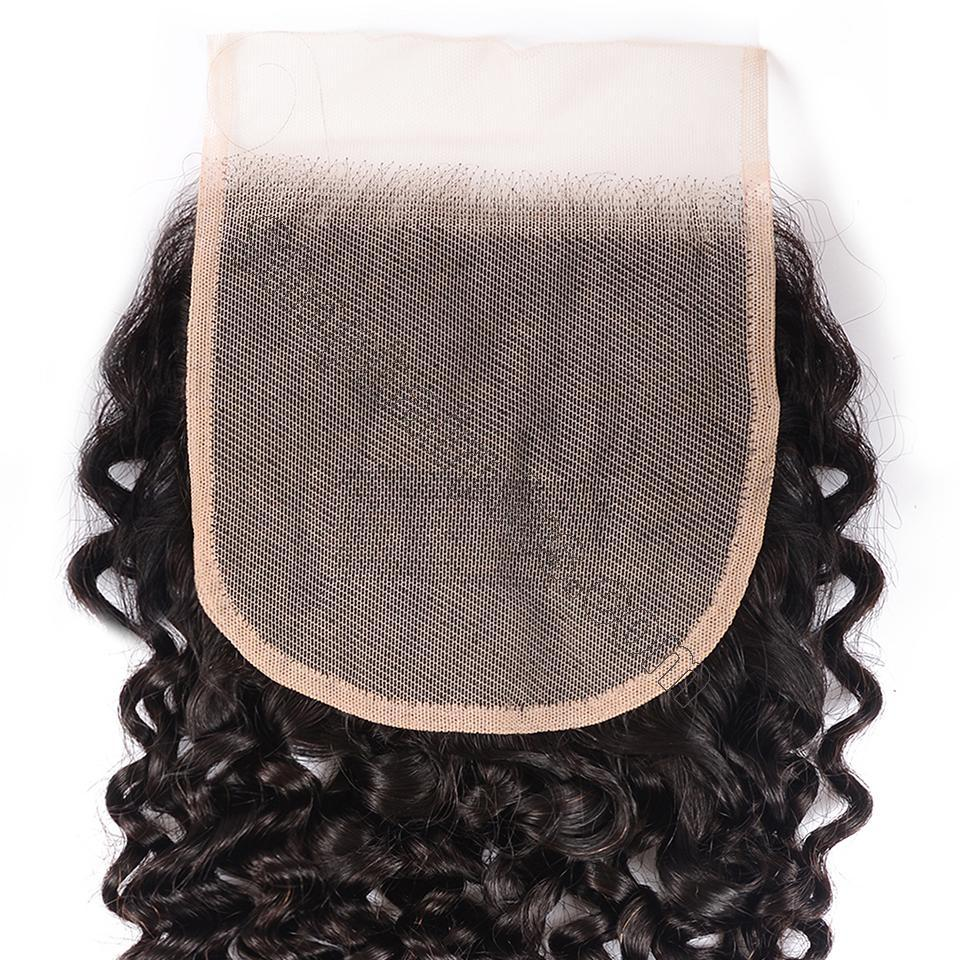 8A Grade Curly Hair Invisible Lace Closure 4x4 Swiss Lace Closure Free Part 5