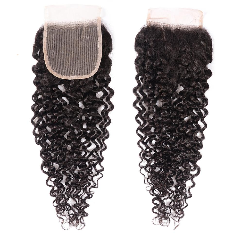 8A Grade Curly Hair Invisible Lace Closure 4x4 Swiss Lace Closure Free Part 7