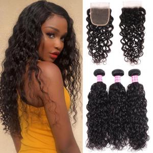 8A Loose Water Wave 3 Bundles with Closure Brazilian Human Hair Weave with Closure