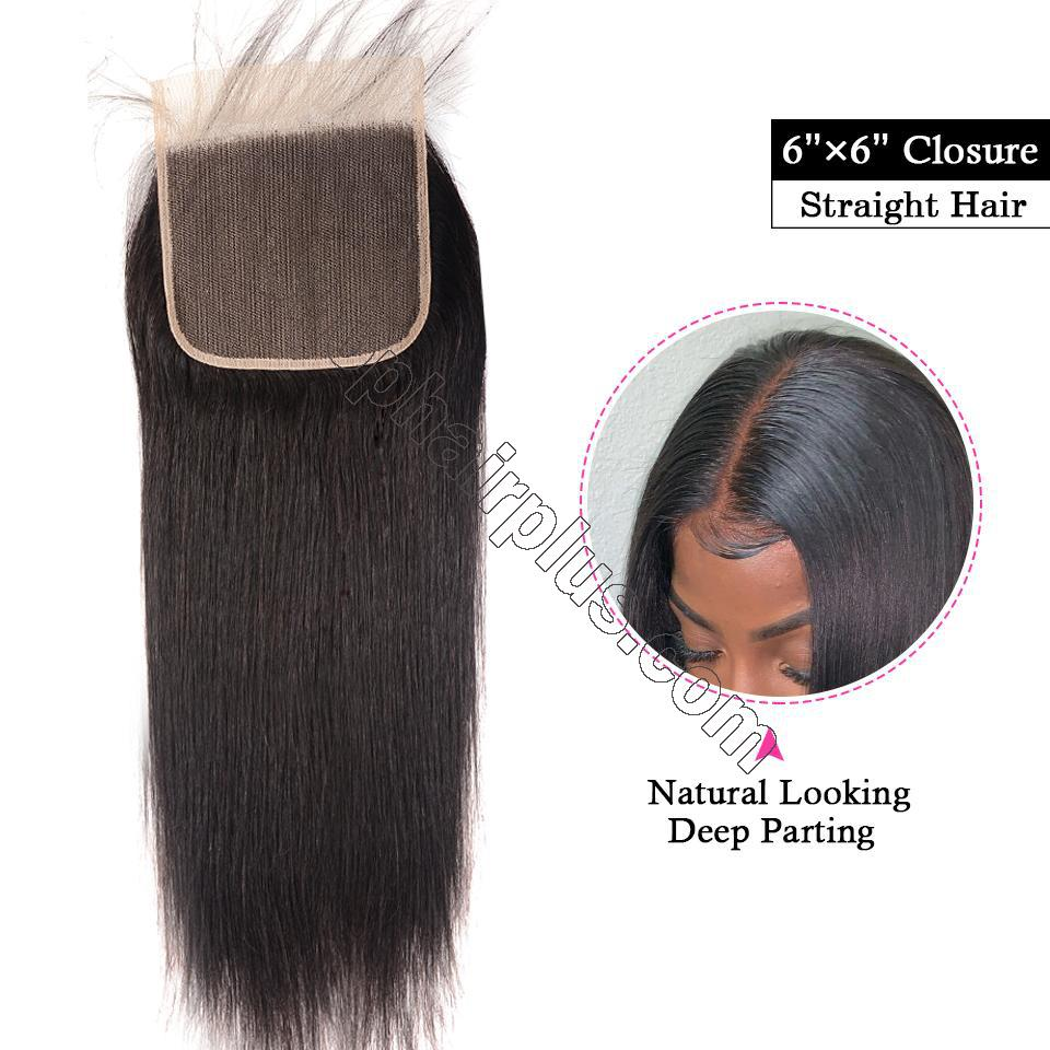 8A Straight Hair 6×6 Closure Human Hair Hand Tied Swiss Lace Front Closure with Baby Hair 2