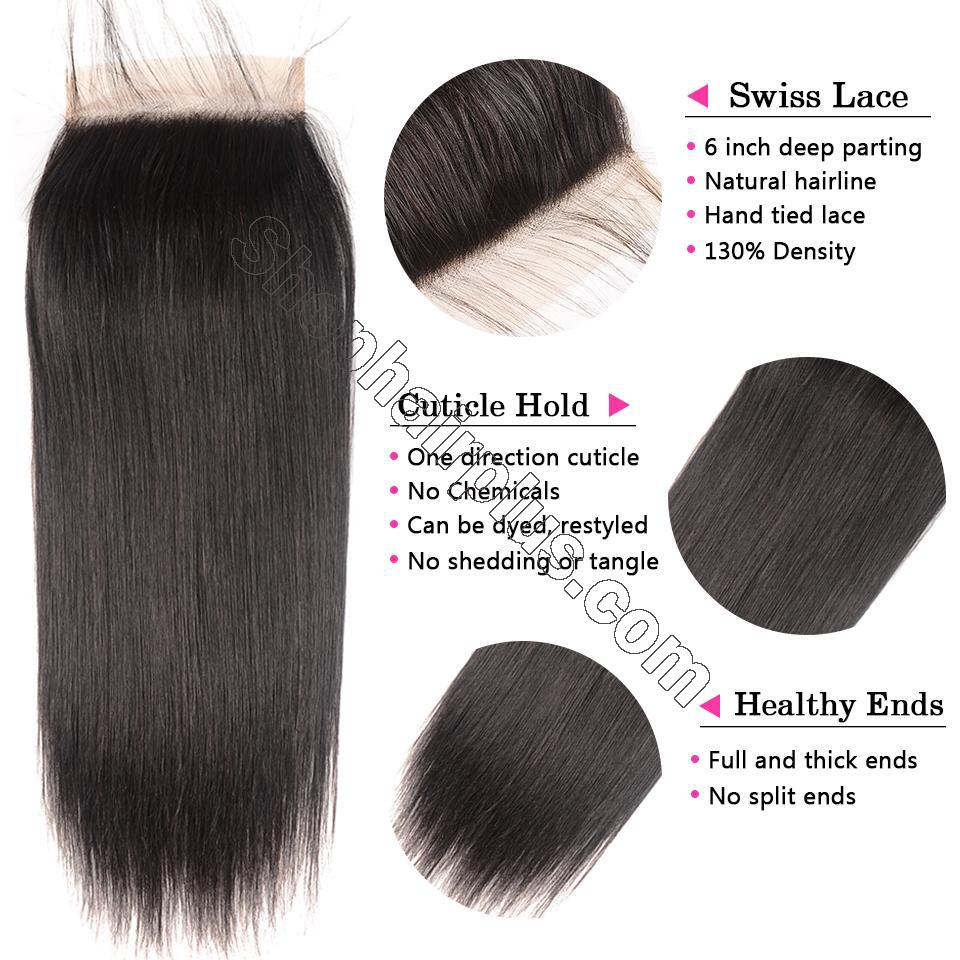 8A Straight Hair 6×6 Closure Human Hair Hand Tied Swiss Lace Front Closure with Baby Hair 3