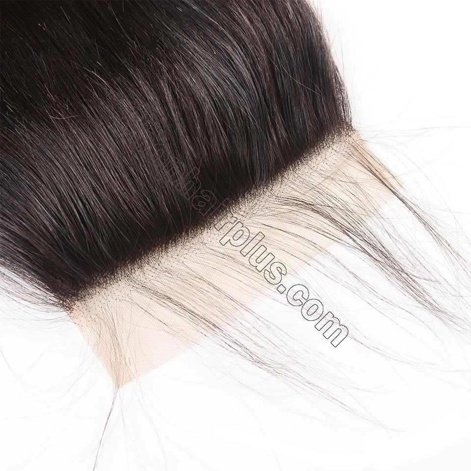 8A Straight Hair 6×6 Closure Human Hair Hand Tied Swiss Lace Front Closure with Baby Hair 5