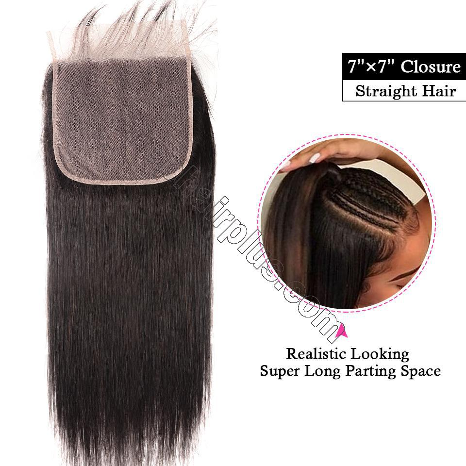 8A Straight Hair 7x7 Lace Closure Virgin Human Hair Free Part Swiss Lace Closure Pre Plucked 2