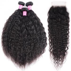 8A Super Wave 3 Bundles with Lace Closure Kinky Wave Human Hair For Black Women