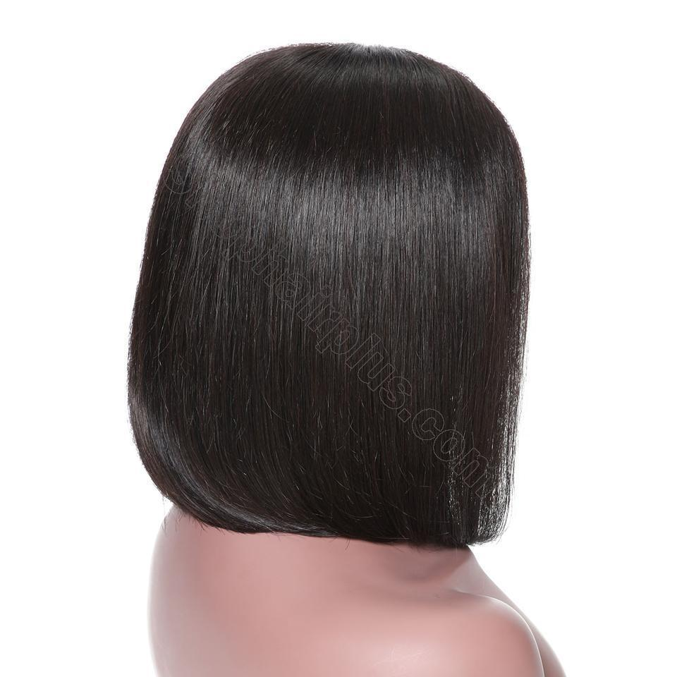 9A 13*4/13*6 150% density Straight Short Bob Wig Lace Front Human Hair Wigs For Black Women 10