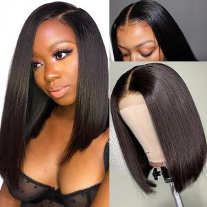 9A 13*4/13*6 150% density Straight Short Bob Wig Lace Front Human Hair Wigs For Black Women