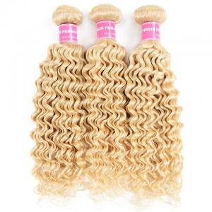 9A Blonde Deep Wave 3 Bundles 613 Color Curly Human Hair Weave Double Stitched