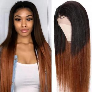 9A Deep Parting Ombre Brazilian Straight Lace Wigs 150% High Density Human Hair Wigs With Color T1B/4 13*6 Frontal Wigs Pre plucked