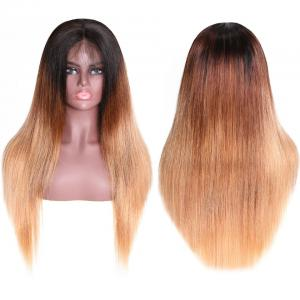 9A Glueless Ombre Color Long Silky Straight Lace Frontal Wigs High Density Remy Hair Lace Wigs For Women T4/27 Color