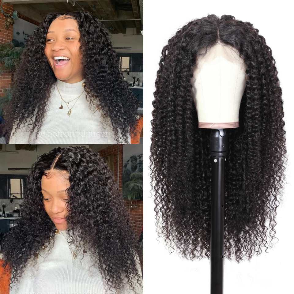 9A Grade 13*4 /13*6/360 Lace Front Jerry Curly Human Hair Wig on Sale , 180%/150 Densit 2