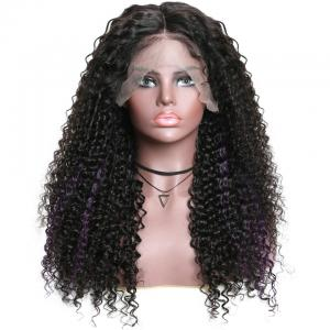 9A Highlight Purple Color Curly Lace Front Wigs High Density Ombre Jerry Curl Human Hair Wigs For Women