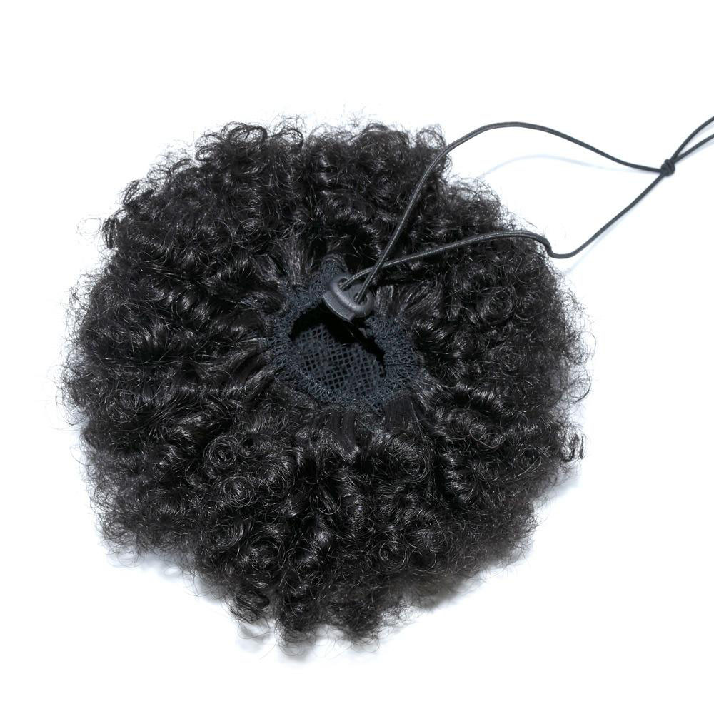 9A Human Hair Kinky Curly Afro Puff Adjustable Drawstring Ponytail With Clips Remy Curly Bun Extensions For Women 2