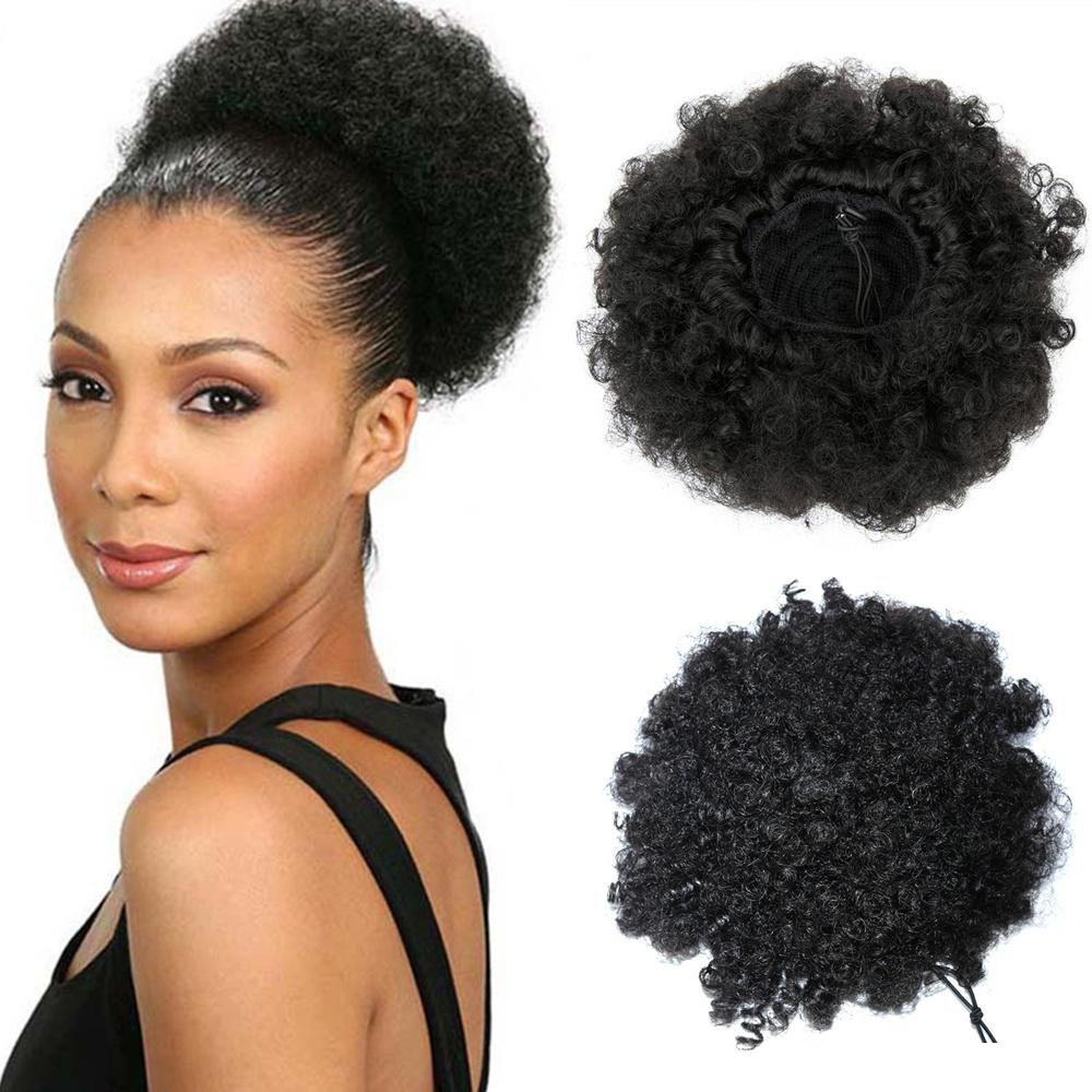 9A Human Hair Kinky Curly Afro Puff Adjustable Drawstring Ponytail With Clips Remy Curly Bun Extensions For Women 7