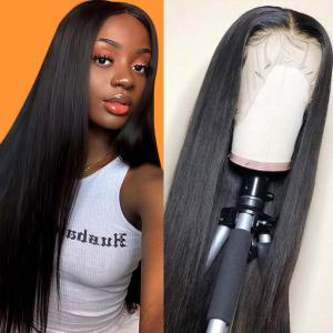 9A Invisible Lace Straight Hair Human Hair Wigs 150%/180% Density Lace Front Wigs Pre Plucked
